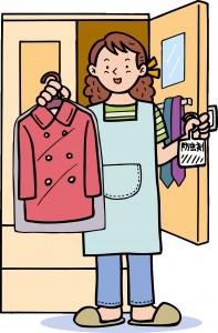 カバーをかけた上着と衣類用防虫剤を持つ女性のイラスト