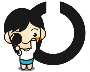 視力検査をする女の子とランドルト環