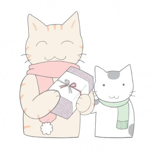 マフラーを付けた猫の親子が歳暮を届けてきた