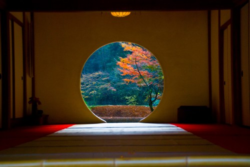 円窓の中の1本の紅葉