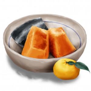 煮たカボチャと柚子
