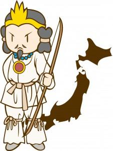 日本列島を背景にした神武天皇
