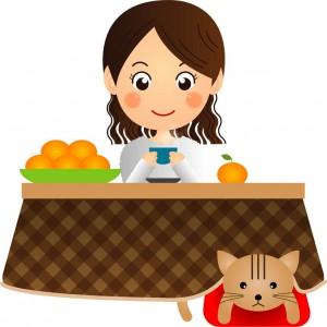 猫も入っている炬燵でお茶を飲んでくつろぐ女性