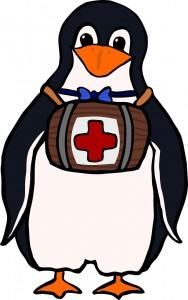 赤十字マークの小樽を胸にぶら下げたペンギン