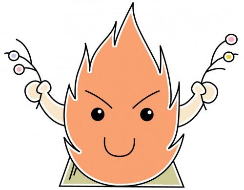 餅玉を両手に持つ左義長の炎くん