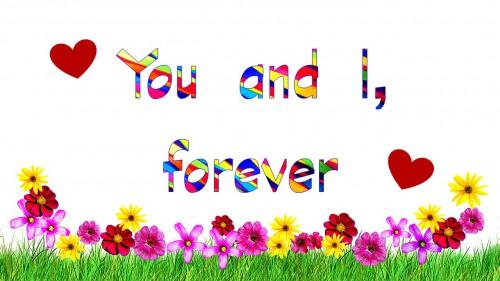 下側にピンクや黄色の花、「You and I,forever」の文字とハートマーク