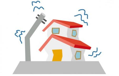 地震で揺れる家と電柱