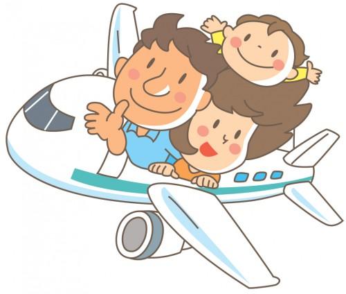 飛行機からお父さん・お母さん・男の子が顔を出す
