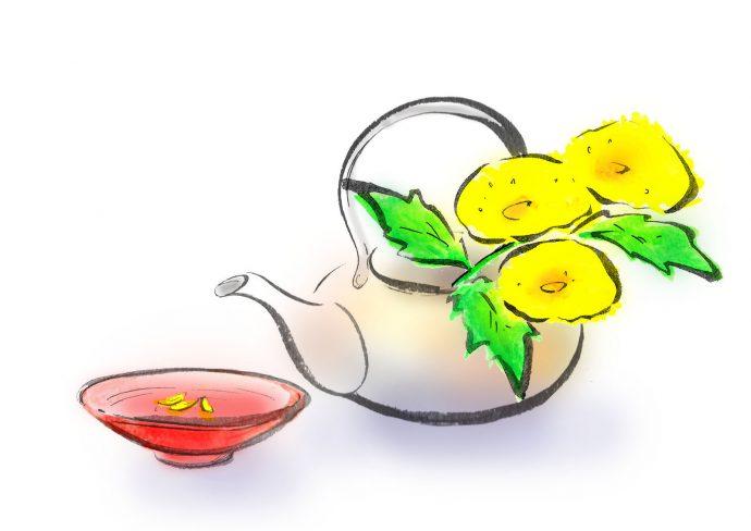 菊の花びらを浮かべた杯と酒器