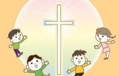 中心に十字架があり子どもが散らばっているイラスト