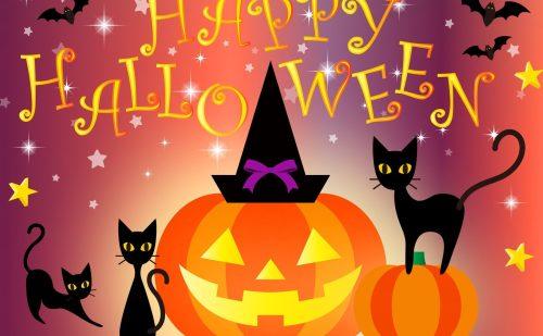 Happy Halloweenの文字と、真ん中にジャック・オー・ランタン、両隣に黒猫と空にコウモリのイラスト