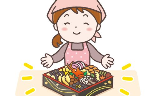 重箱に入ったおせち料理をアピールする女性のイラスト