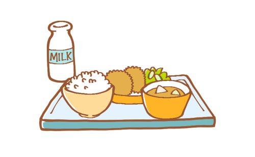 トレーにのったごはんの給食。右から汁物、おかず、ご飯、牛乳のイラスト