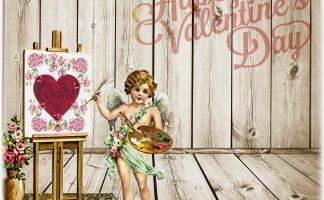 Happy Valentine's Day の文字とキャンパスにハートとピンクの薔薇の絵を描いてるキューピットのイラスト