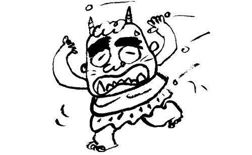 豆を投げられて逃げるコミカルな鬼のイラスト