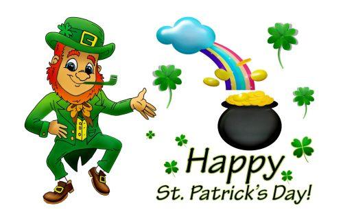 Happy St. Patrick's Day! のロゴと、ゴールドのポット、虹、シャムロック、レプラコーンのイラスト