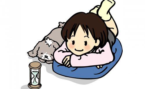 女の子と犬が寝そべって砂時計を見ているイラスト