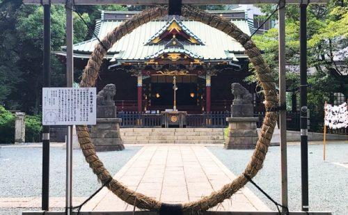 東京の渋谷にある金王八幡宮の夏越の祓の茅の輪の写真
