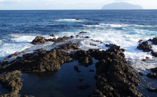 三宅島の磯と紺碧の水平線の写真